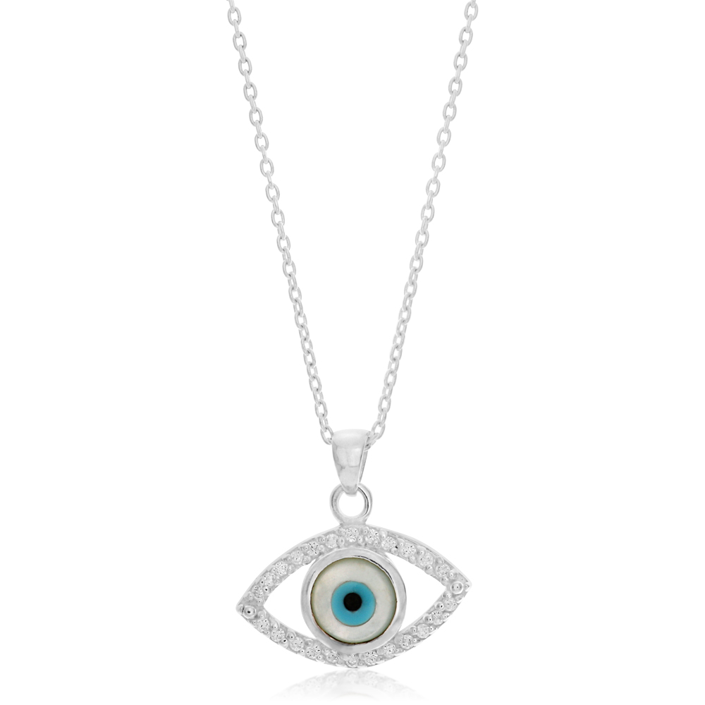 45cm Sterling Silver Zirconia Evil Eye Pendant on Sterling Silver Chain