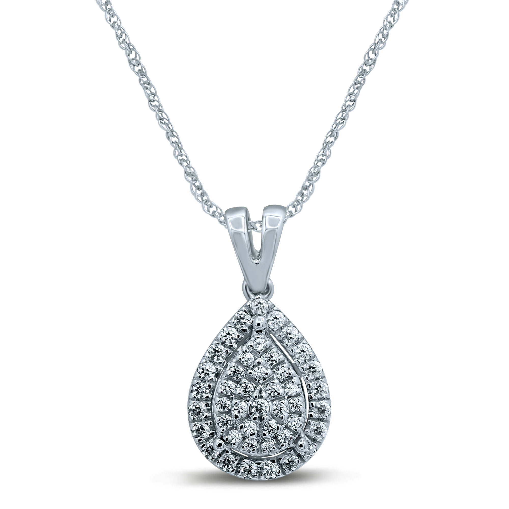 Sterling Silver 1/4 Carat Pear Shap Pendant With 45cm Rope Chain