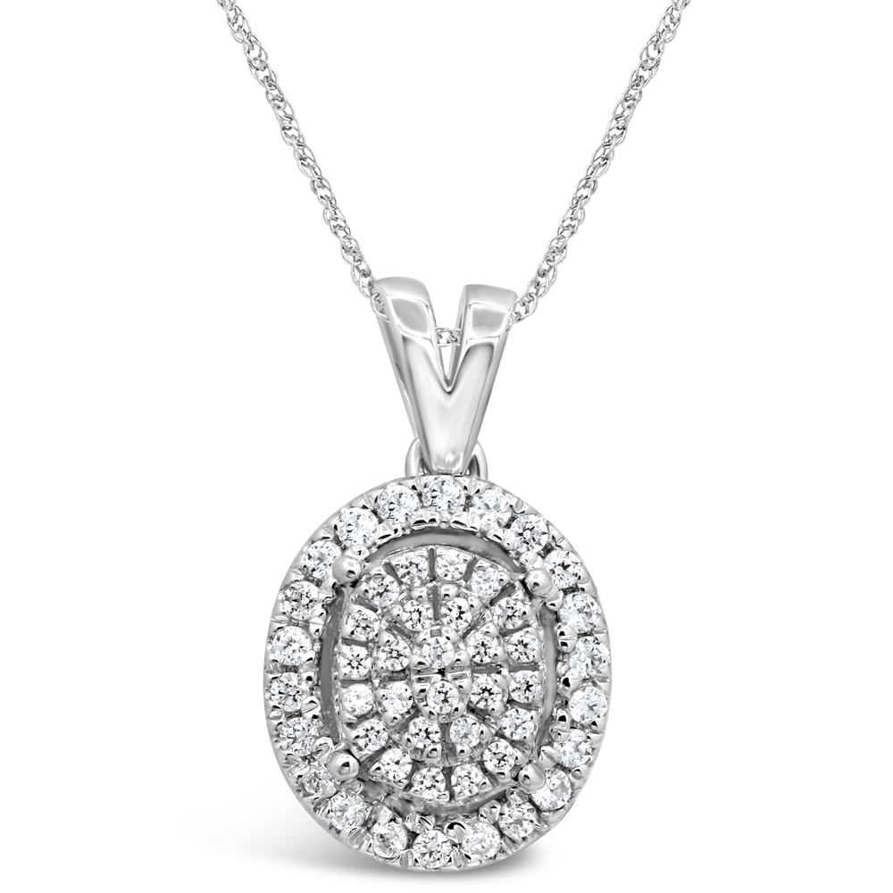 Sterling Silver 1/4 Carat Diamond Pendant With 45cm Rope Chain