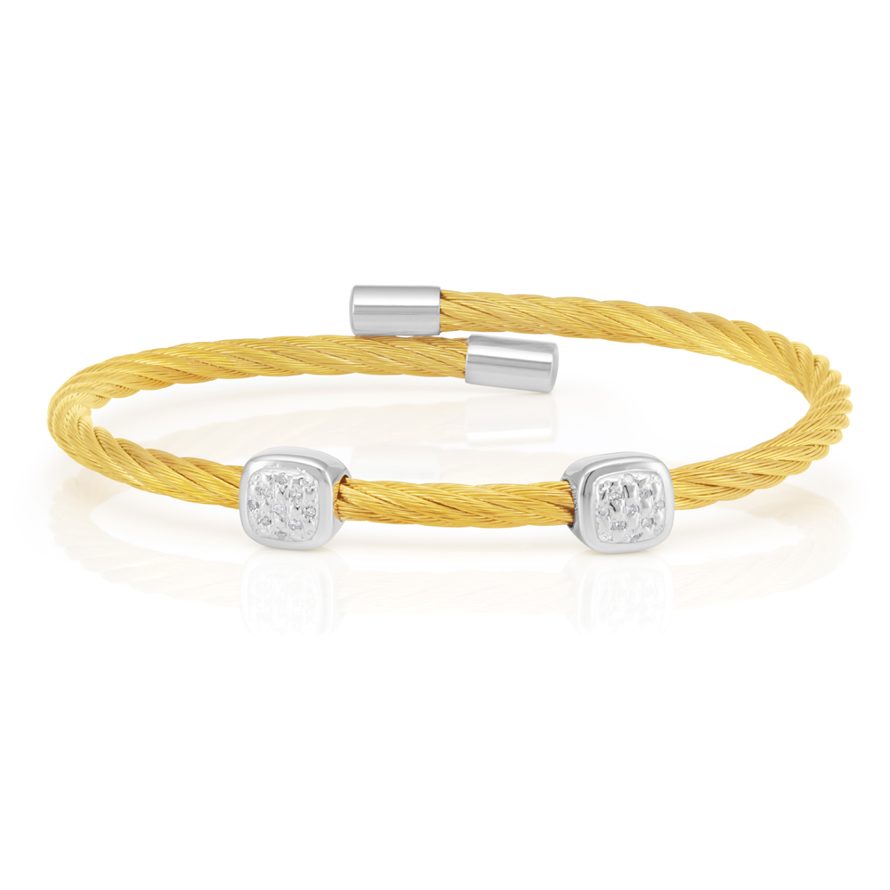 Sterling Silver Gold Plated 10 Points Diamond 3mm Cable Bangle