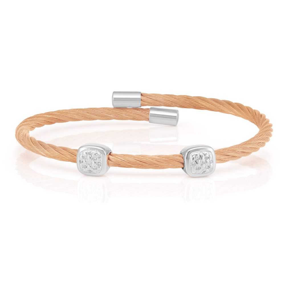 Sterling Silver Rose Gold Plated 10 Points Diamond 3mm Cable Bangle