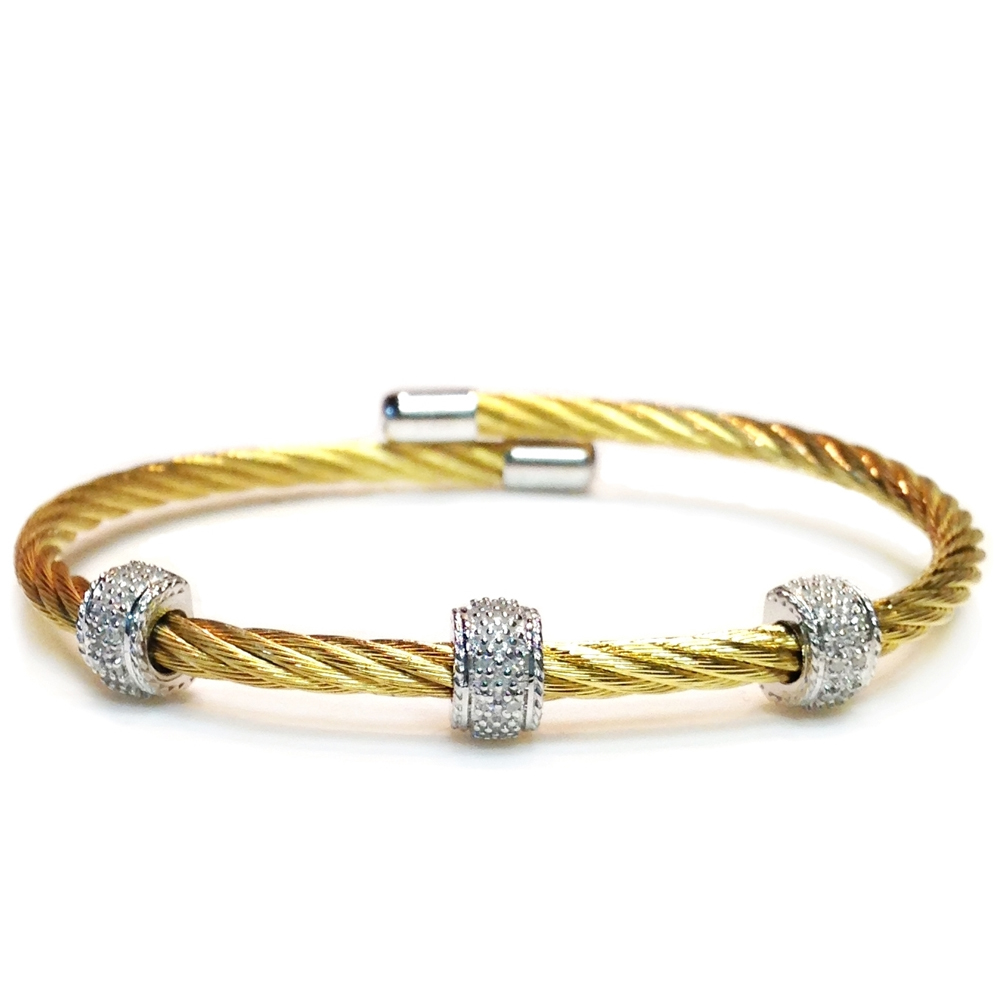 Sterling Silver Yellow Gold Plated 08 Points Diamond 3mm Cable Bangle