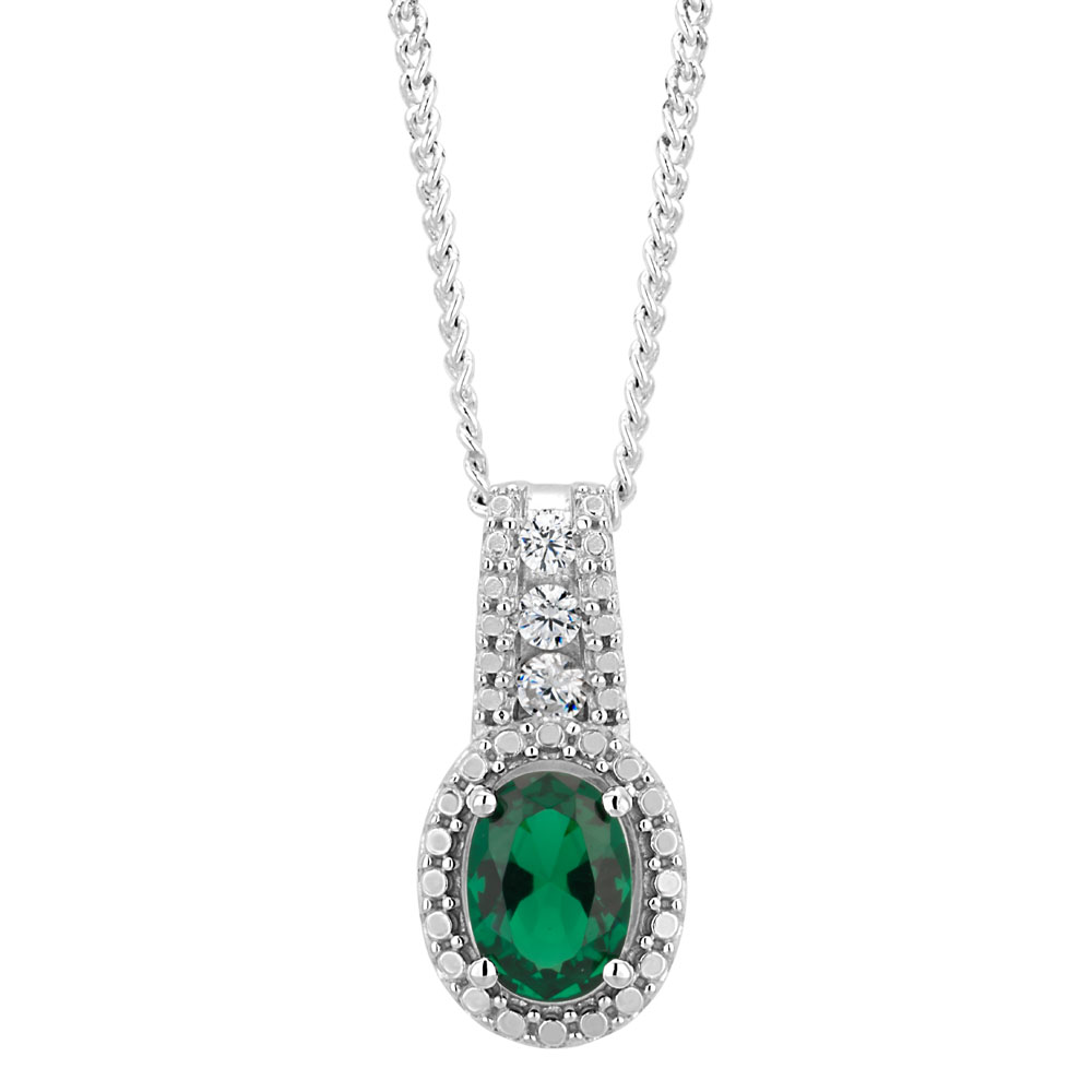Sterling Silver Simulated Emerald and Zirconia Oval Pendant