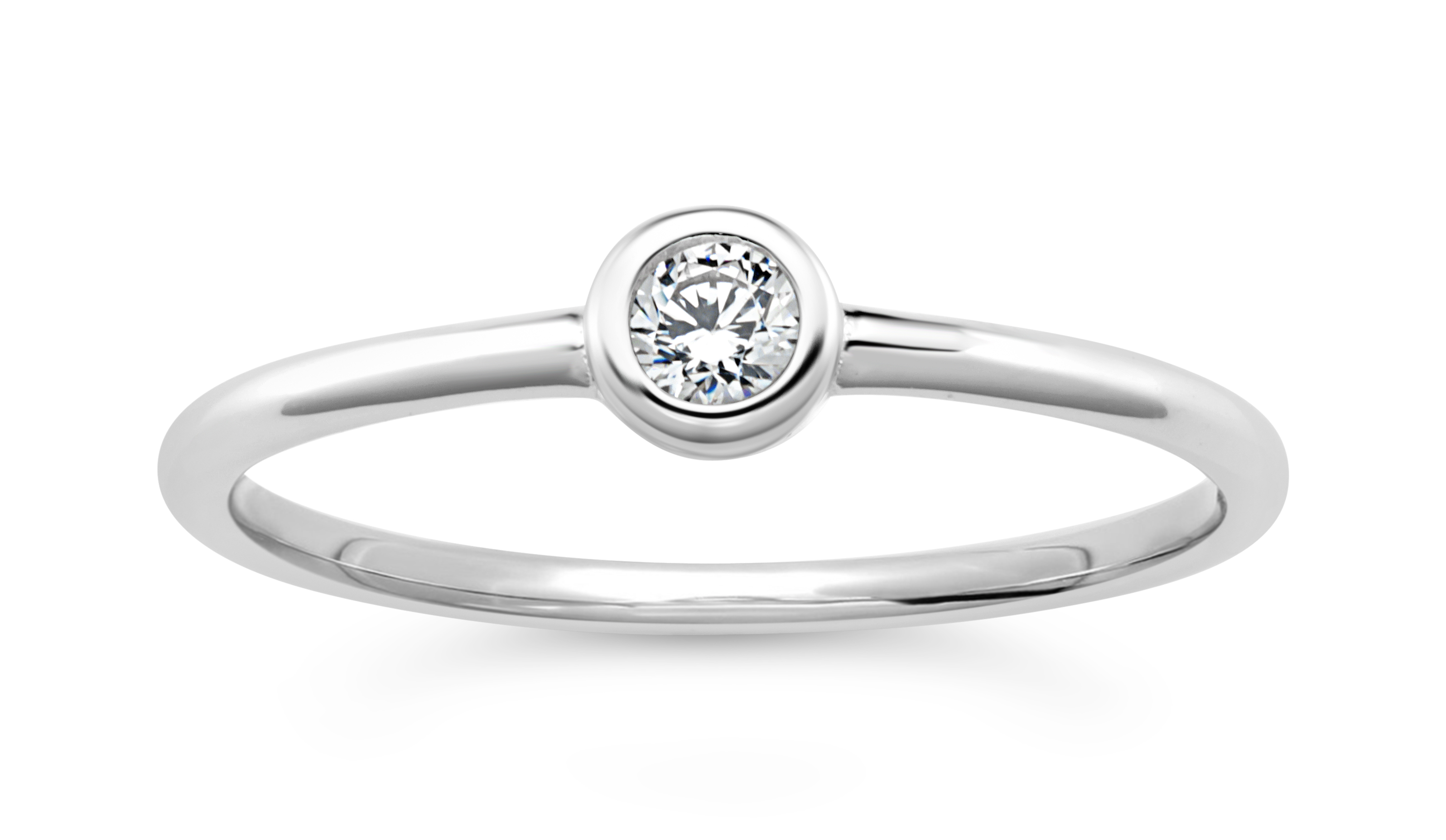 Sterling Silver Zirconia Bezel Solitaire Ring