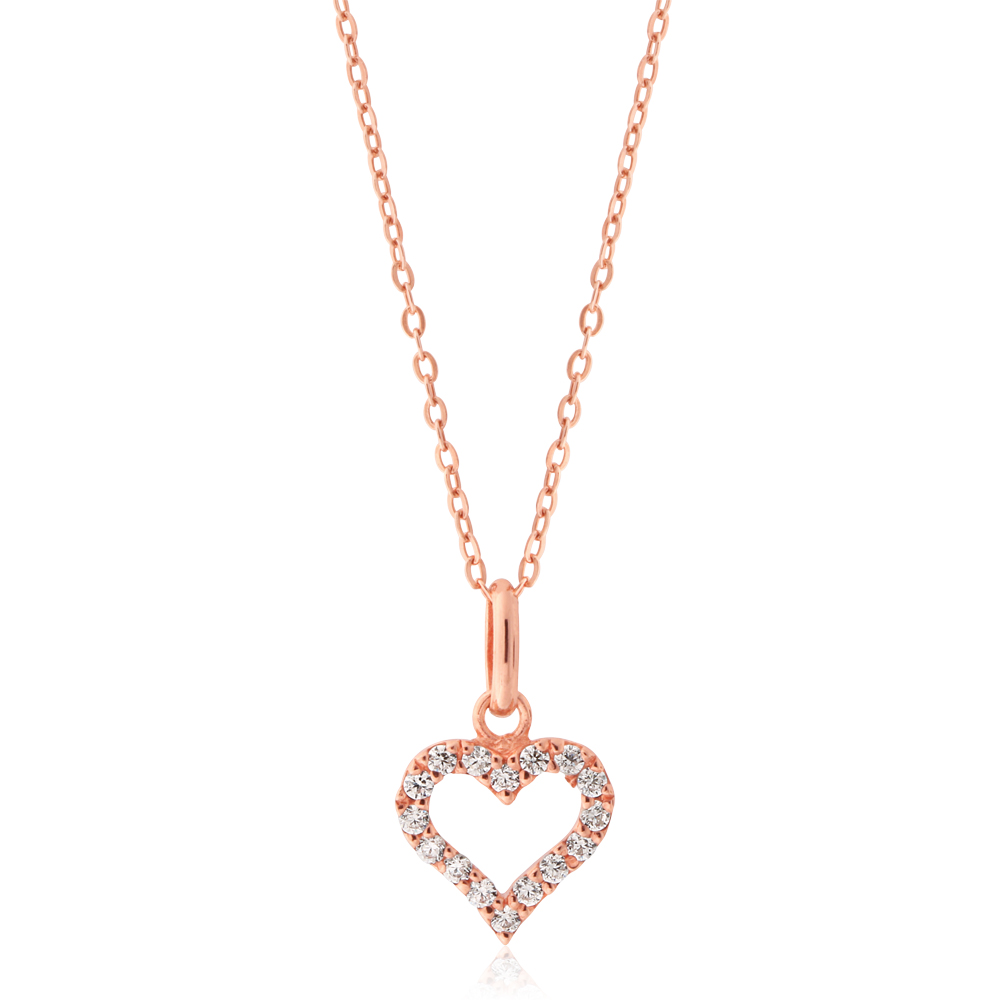 Sterling Silver Rose Plated Zirconia Heart Pendant