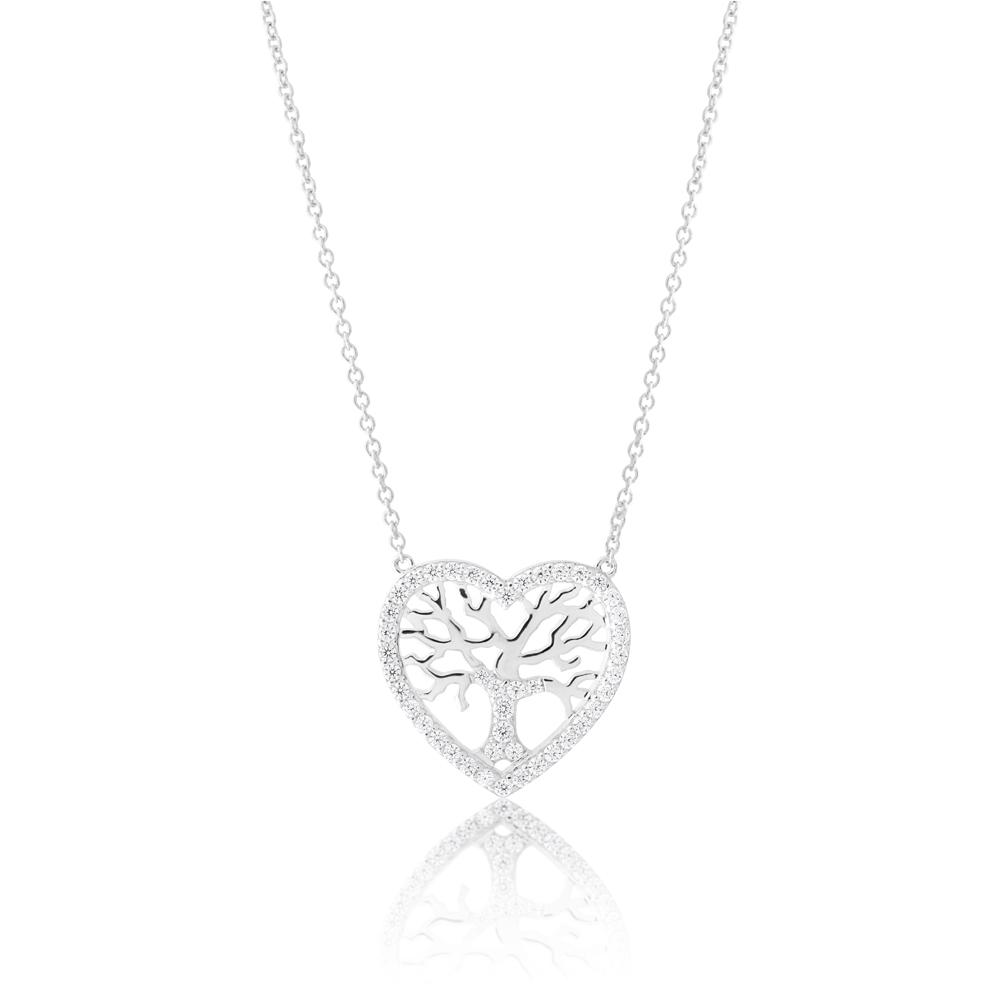 Sterling Silver 45cm Zirconia Tree in Heart Pendant on Chain