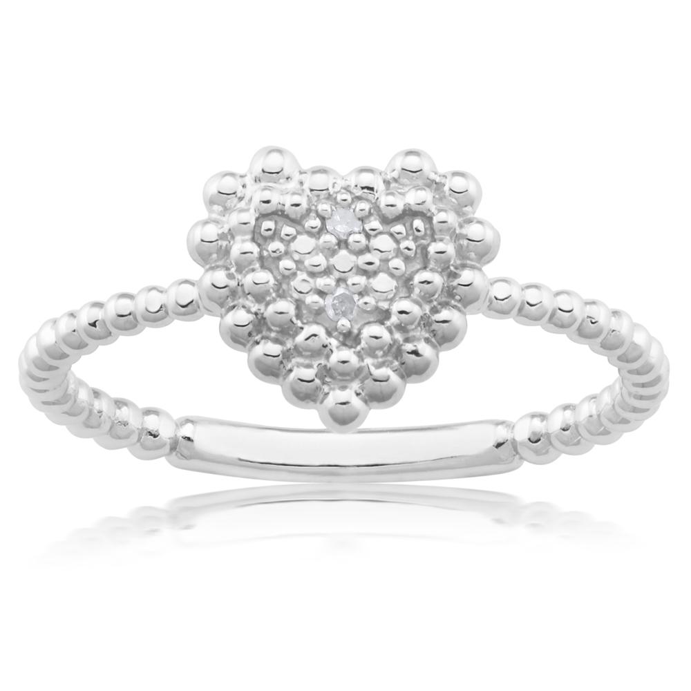 Sterling Silver 0.01 Carat Diamond Heart Ring with 2 Brilliant Cut Diamonds