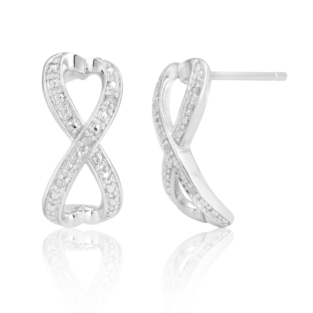 Sterling Silver 0.03 Carat Diamond Infinity Earrings with 6 Brilliant Cut Diamonds