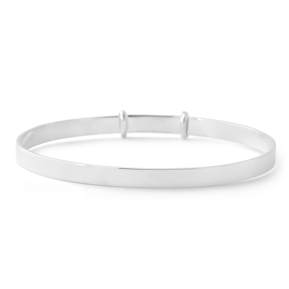 Sterling Silver 50mm Plain Expandable Baby Bangle