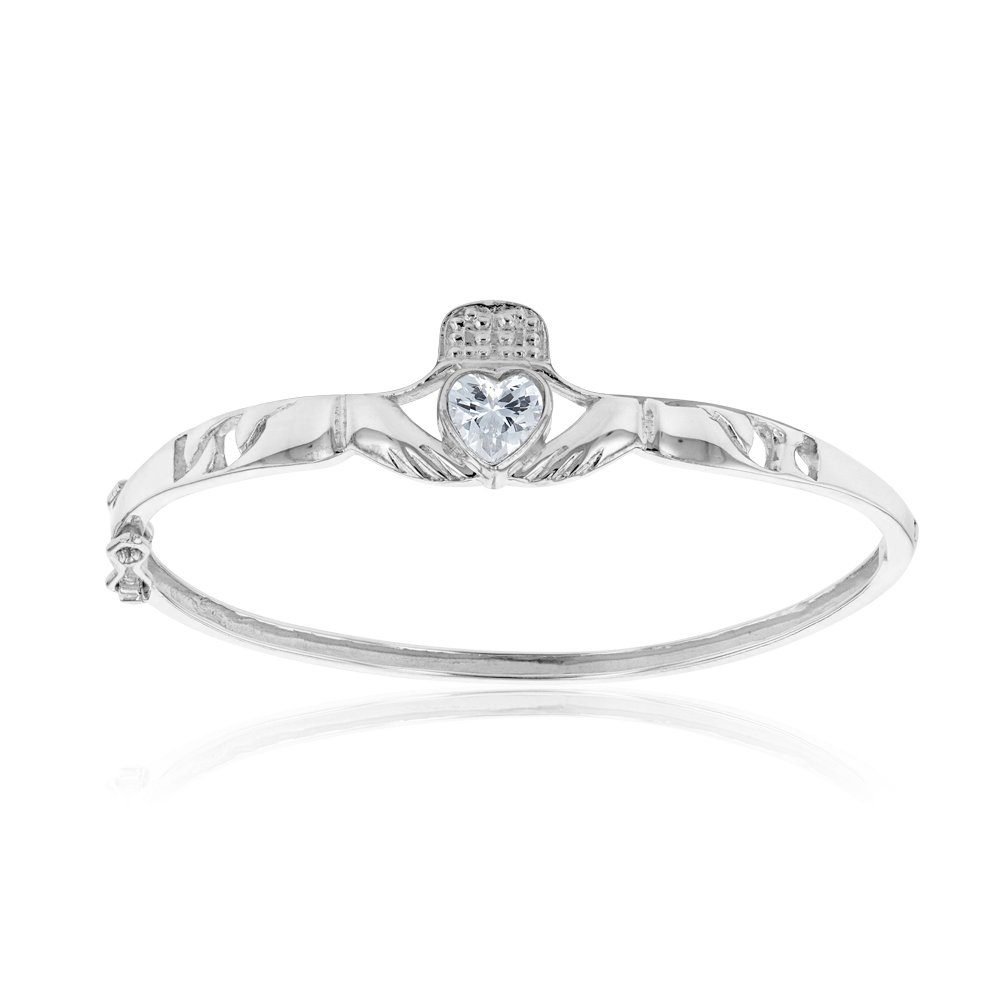 Sterling Silver Claddagh Hinged Baby Bangle