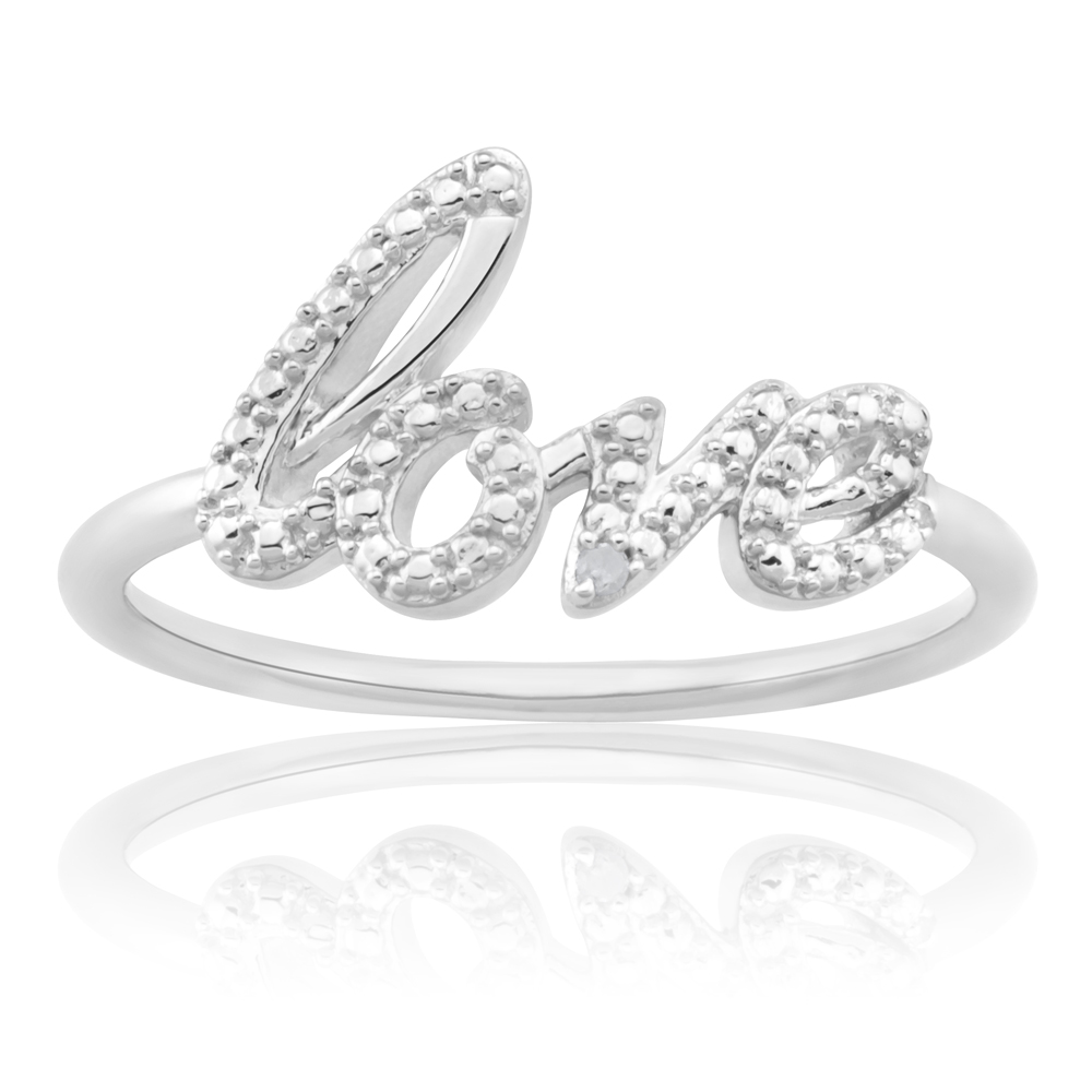 Sterling Silver Love Diamond Ring with 1 Brilliant Cut Diamond