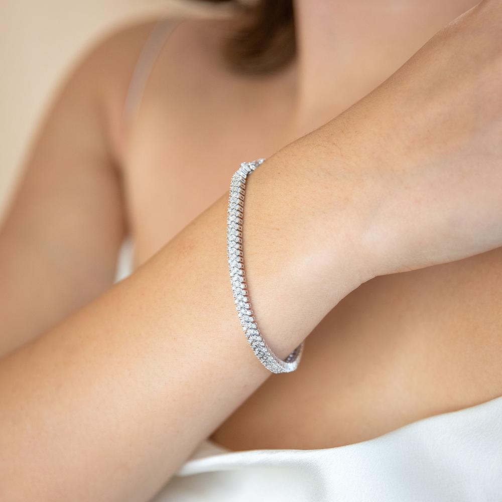 Sterling Silver 1 Carat Diamond Bracelet with 167 Brilliant Cut Diamonds 18cm