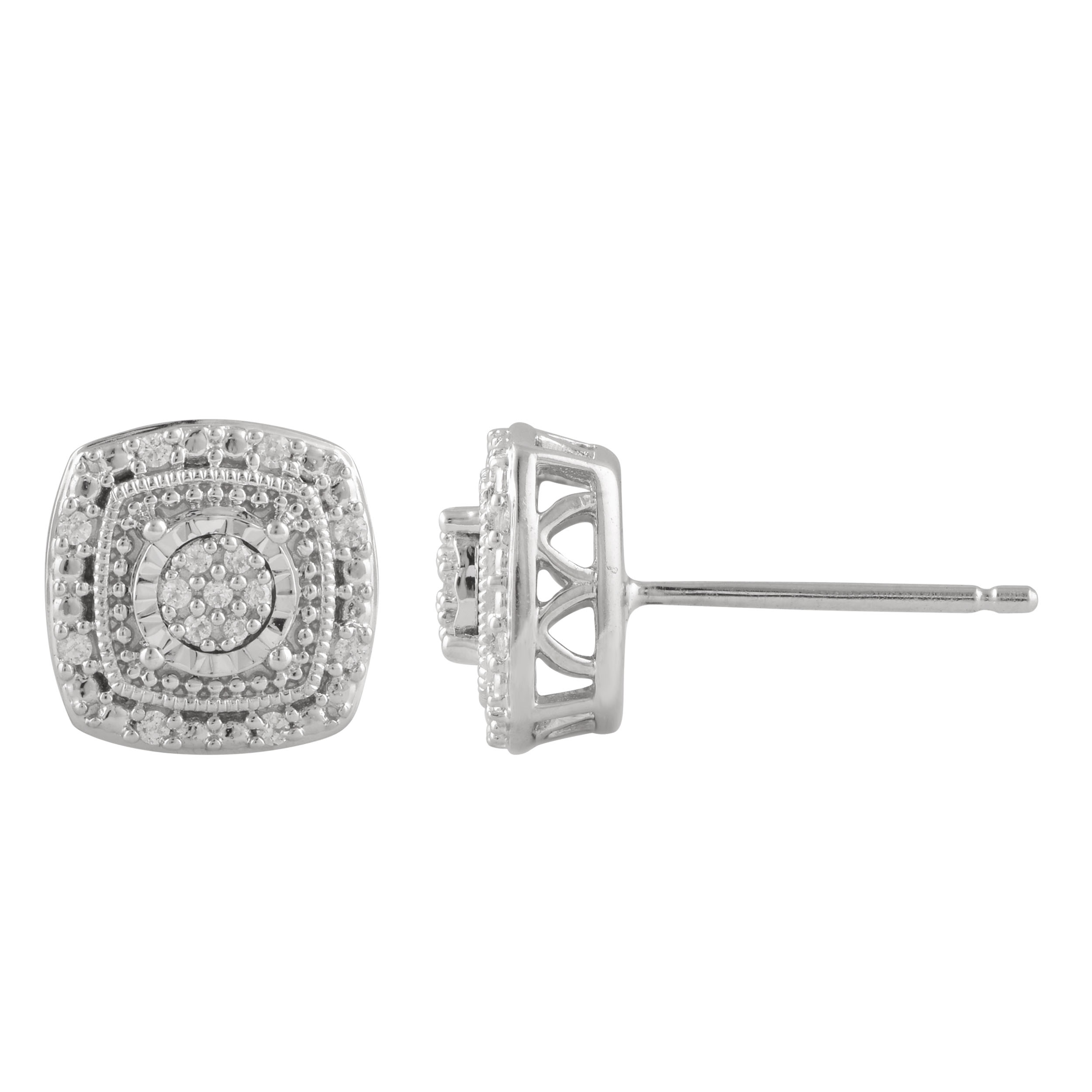 Sterling Silver Diamond Stud Earring Set with 30 Brilliant Diamonds