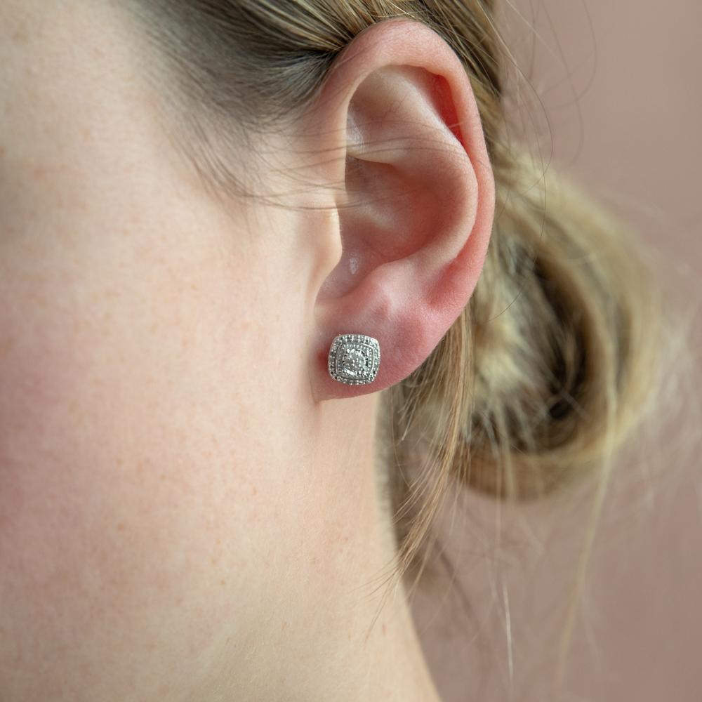 Sterling Silver Diamond Stud Earring Set with 30 Brilliant Diamonds