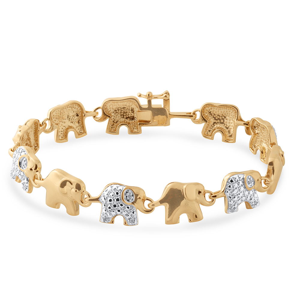 Gold Plated  Sterling Silver Diamond Elephant 19.5cm Bracelet