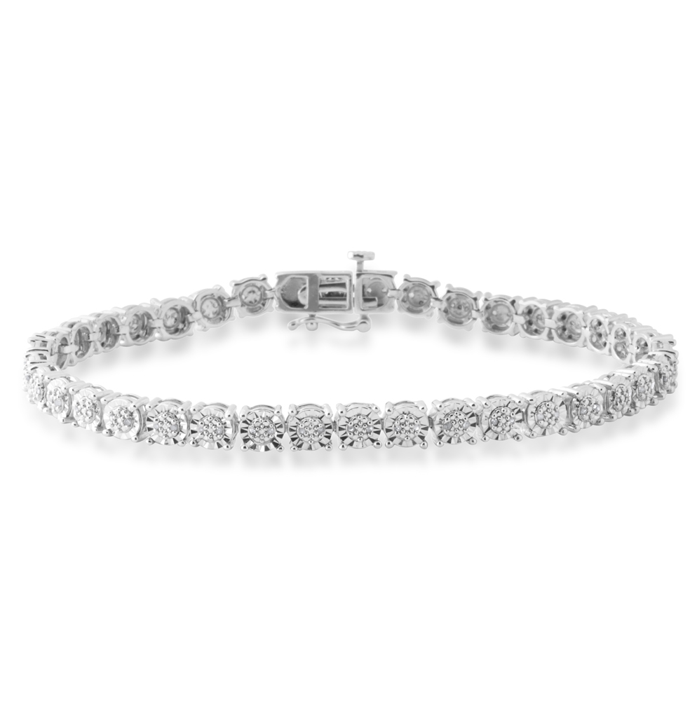 Sterling Silver 1/4 Carat Diamond  18.5cm Bracelet