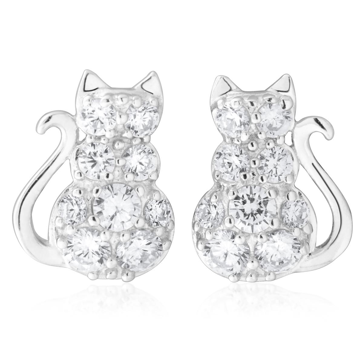Sterling Silver Zirconia Sitting Cat Earrings