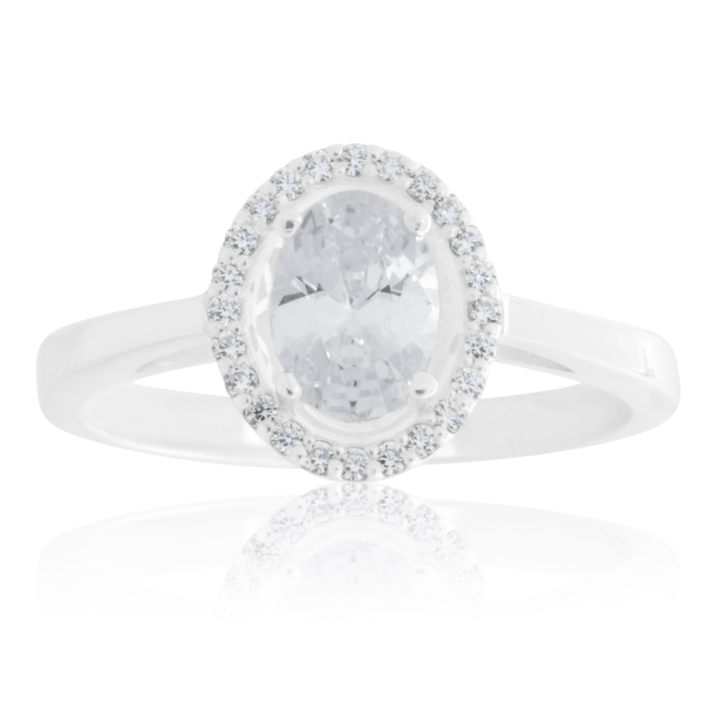Sterling Silver Zirconia Oval Halo Ring