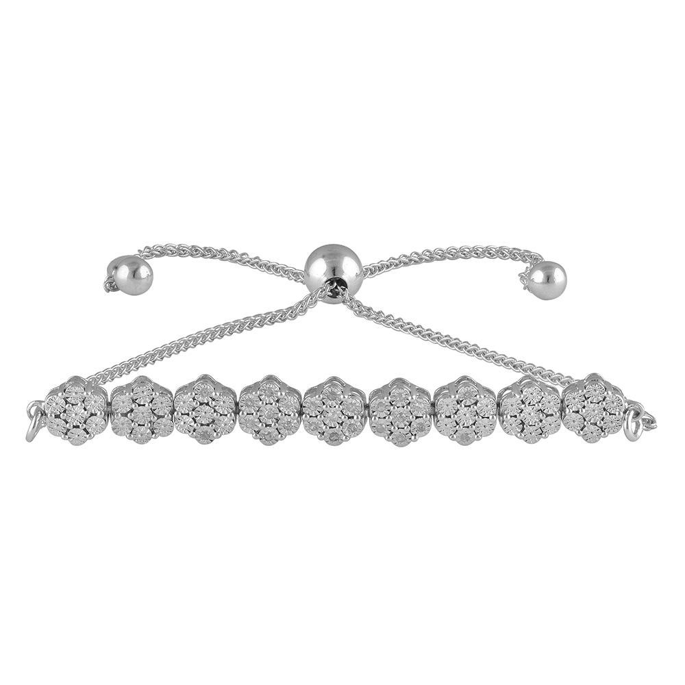 Sterling Silver 25 Diamond Slider Bracelet