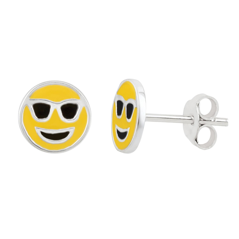 Sterling Silver Emoji Shades Stud Earrings