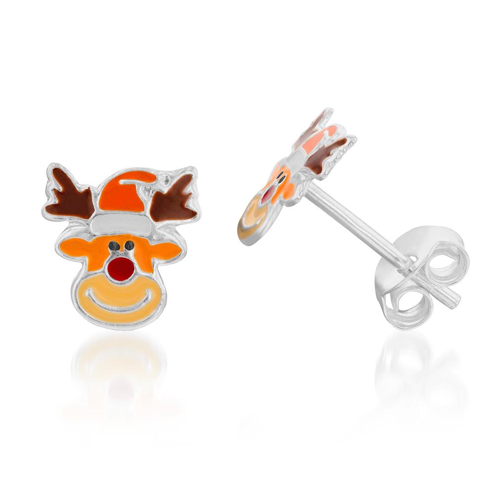 Sterling Silver Christmas Reindeer Stud Earrings