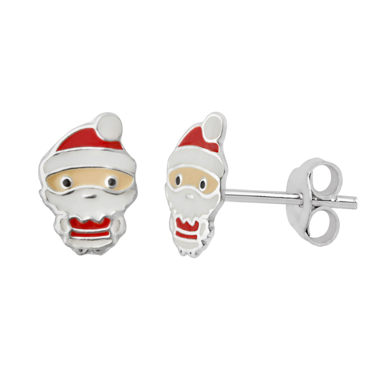 Sterling Silver Father Christmas Stud Earrings