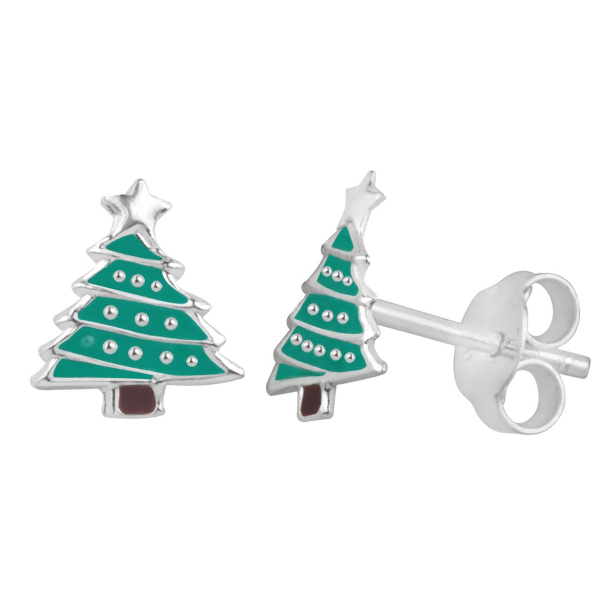 Sterling Silver Christmas Tree Stud Earrings