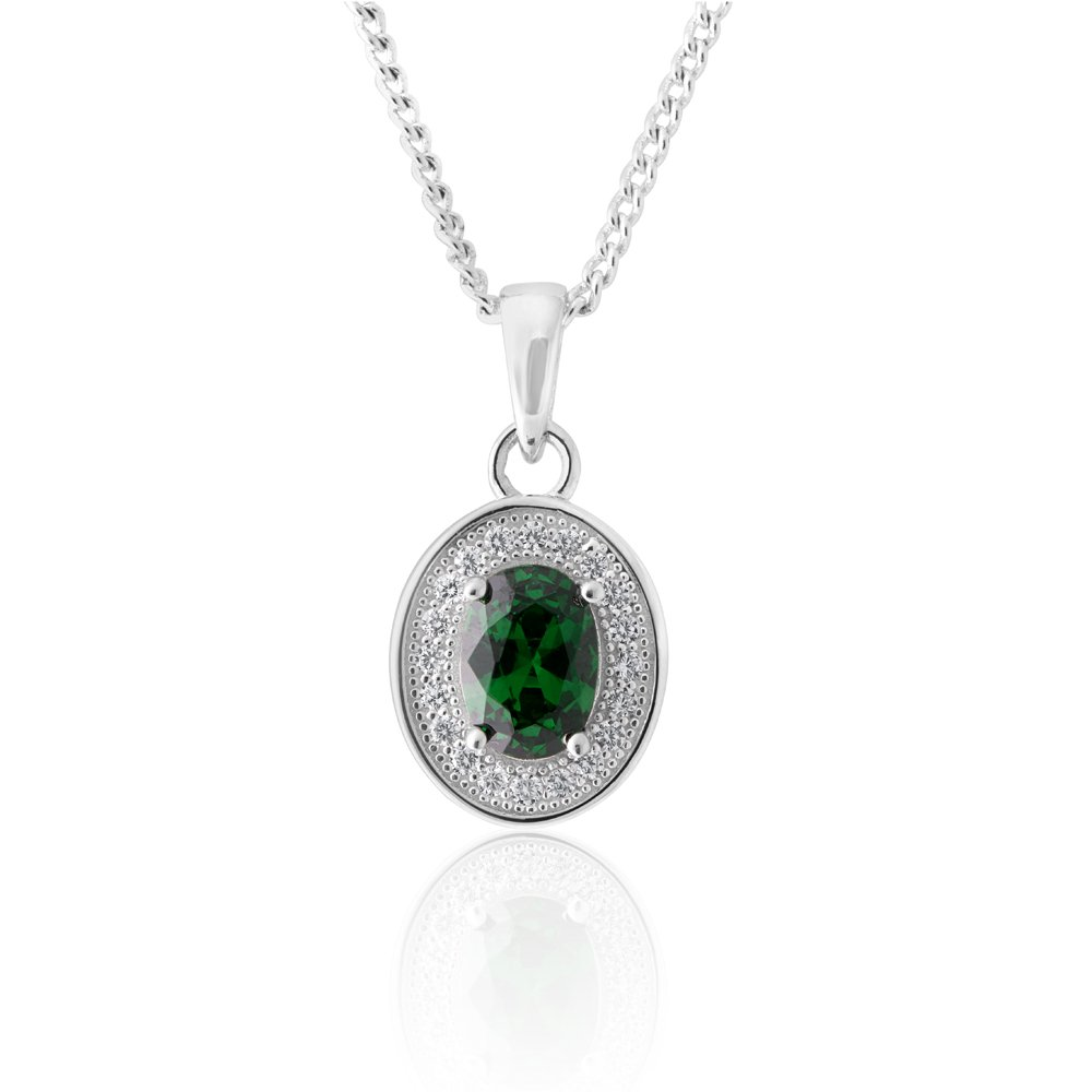 Sterling Silver Created Emerald and Zirconia Oval Pendant