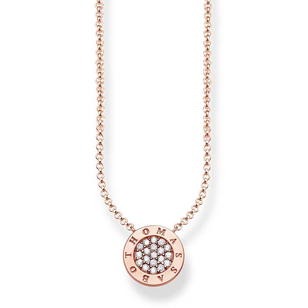 Sterling Silver Rose Gold Plated Thomas Sabo Classic Pave Necklace