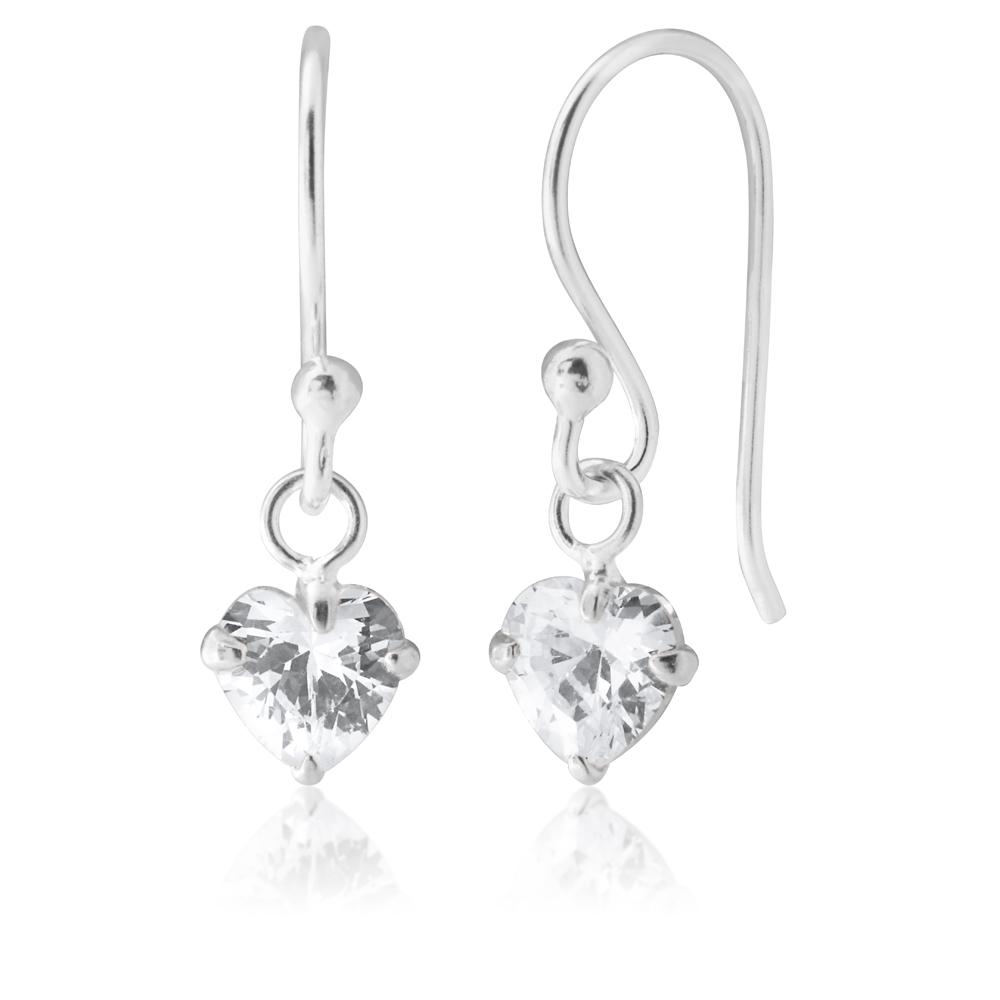 Sterling Silver Heart Drop Hook Earrings