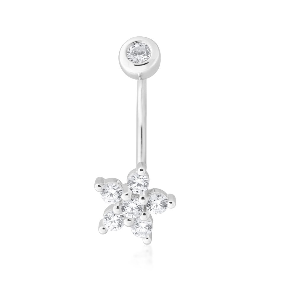 Sterling Silver Belly Bar Zirconia Flower