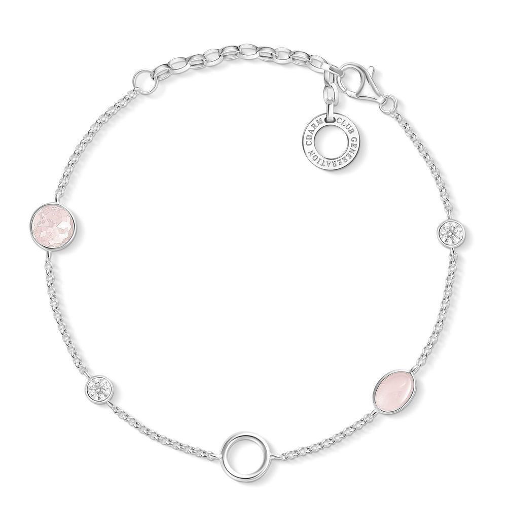 Sterling Silver Thomas Sabo Charm Club Rose Quartz Bracelet 15-19cm