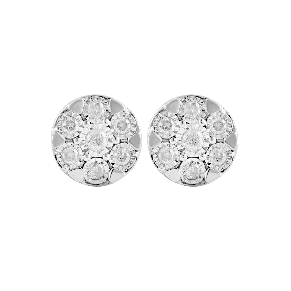 Silver 1/2 Carat Diamond Stud Earrings with 14 Brilliant Diamonds