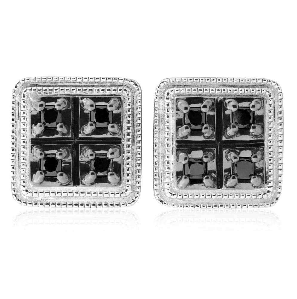 Silver 15 Point Black Stud Diamond Earrings