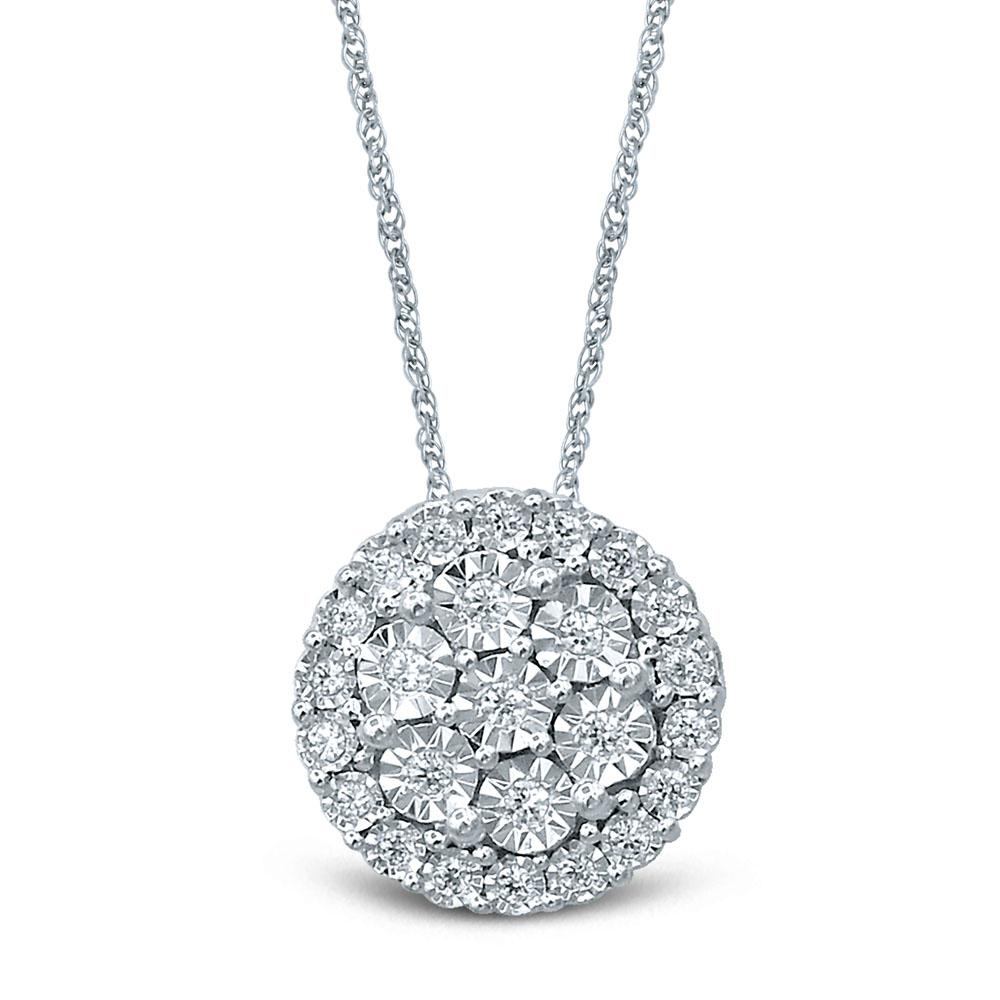 Silver 0.10 Carat Pendant with 25 Brilliant Diamonds on 45cm Chain