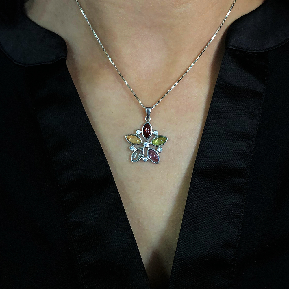 Multigems Flower Pendant with chain