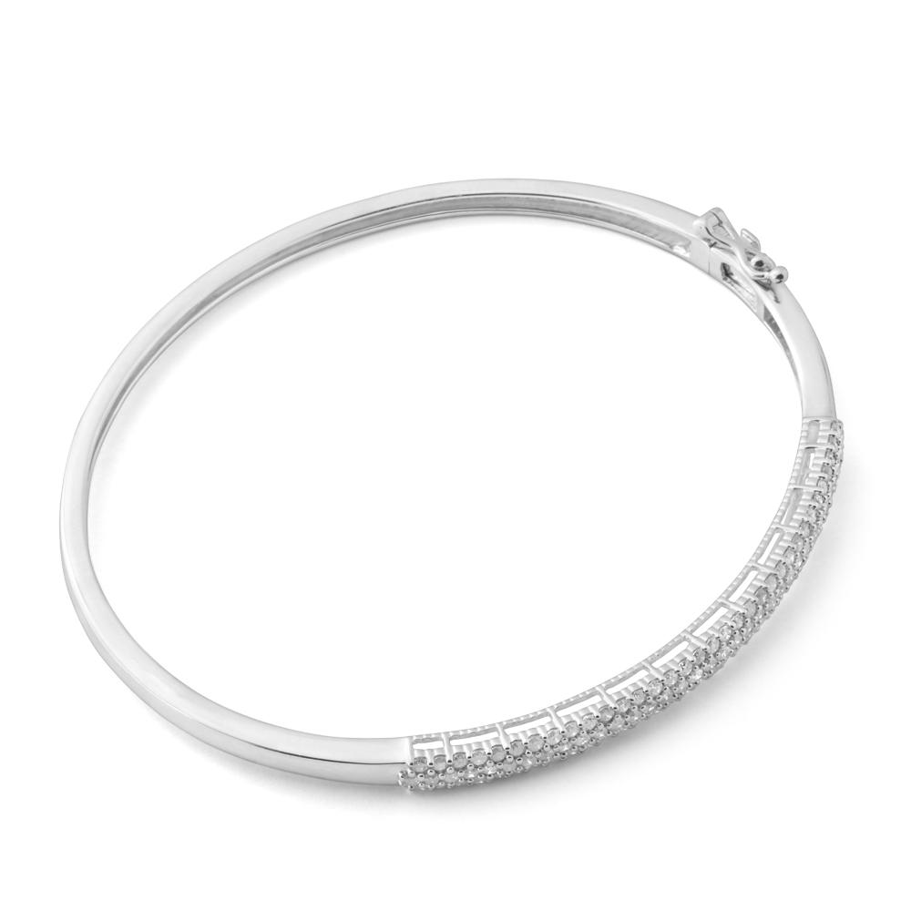 Silver 1 Carat Diamond Hinge Bangle 60mm