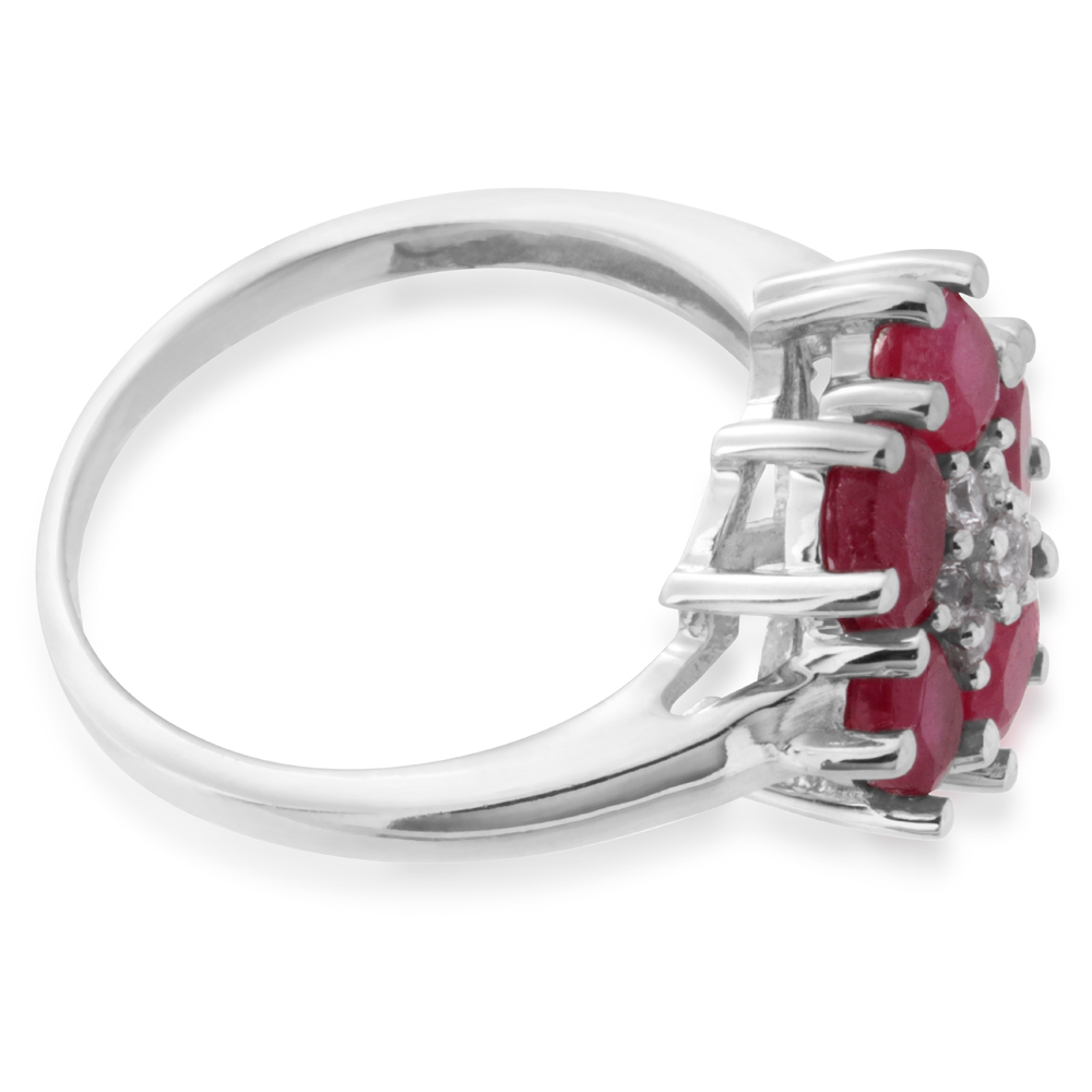 Sterling Silver Natural Enhanced Oval Ruby and White Zircon Cluster Ring