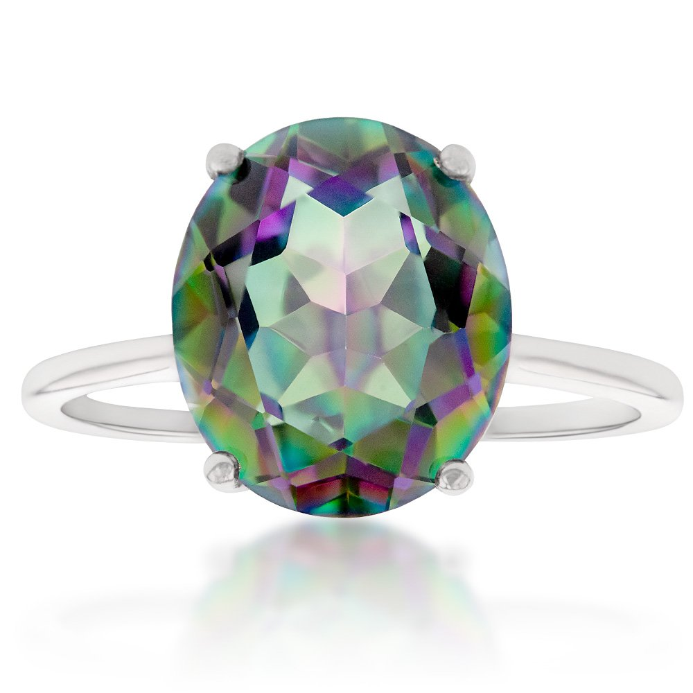 Sterling Silver 10x12mm Oval Mystic Topaz Ring