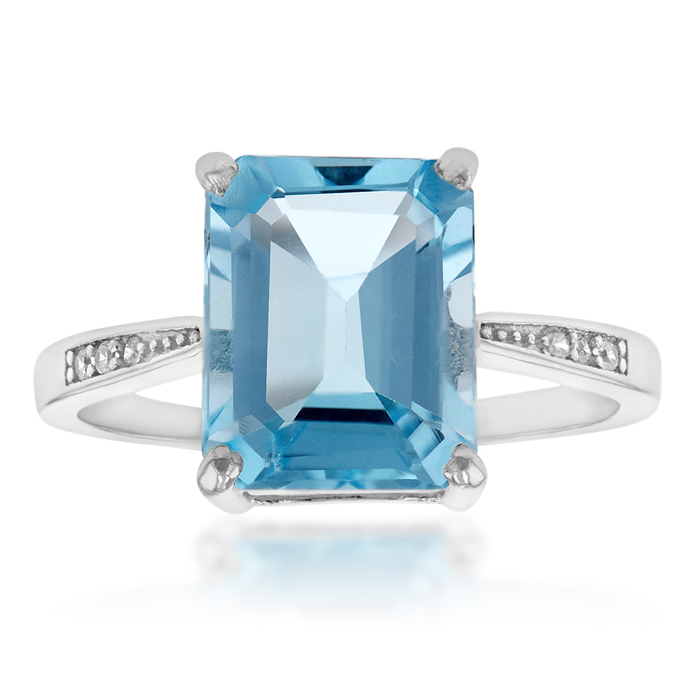 Sterling Silver Blue Topaz Ring with Zirconia Accent