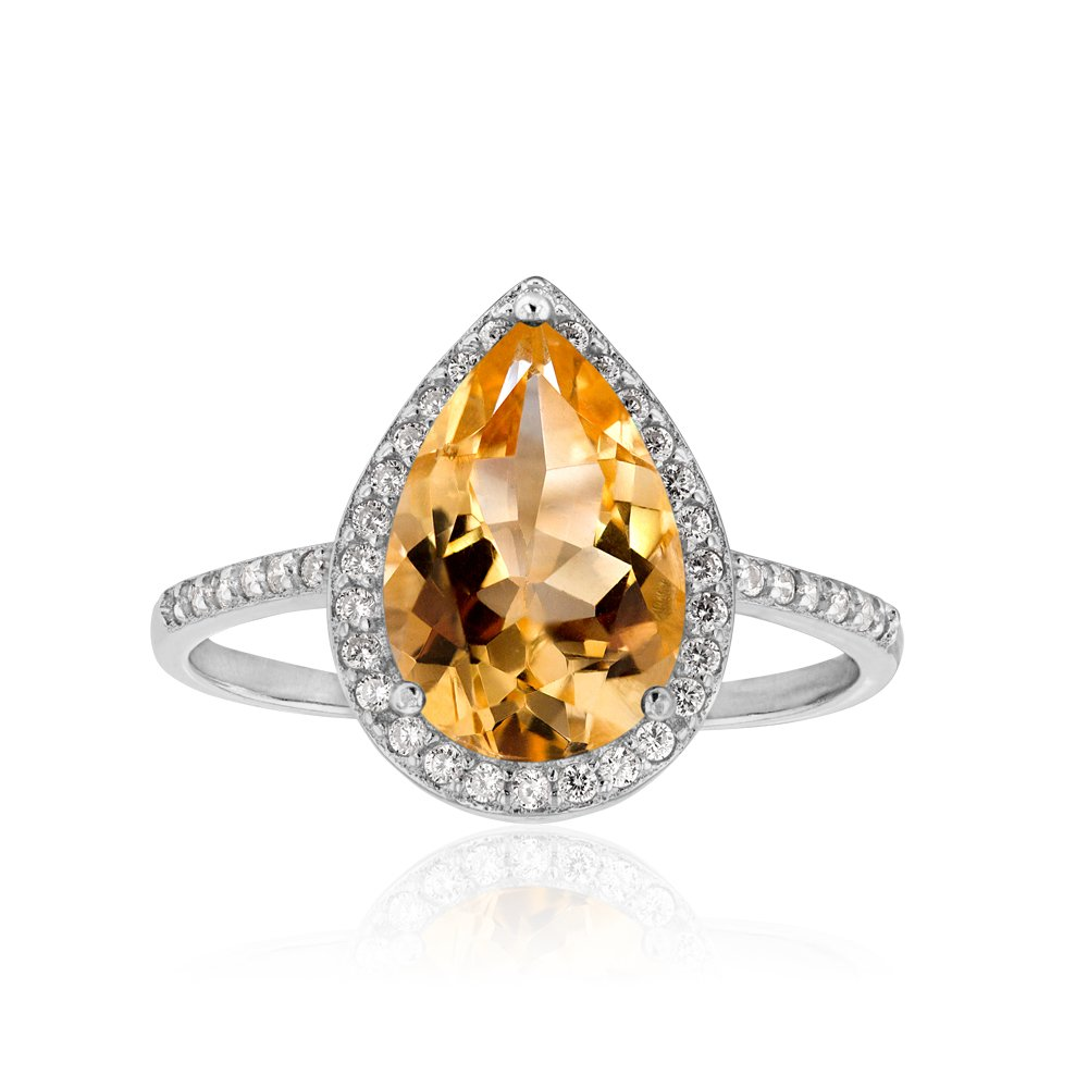 Sterling Silver Citrine and Zirconia Ring