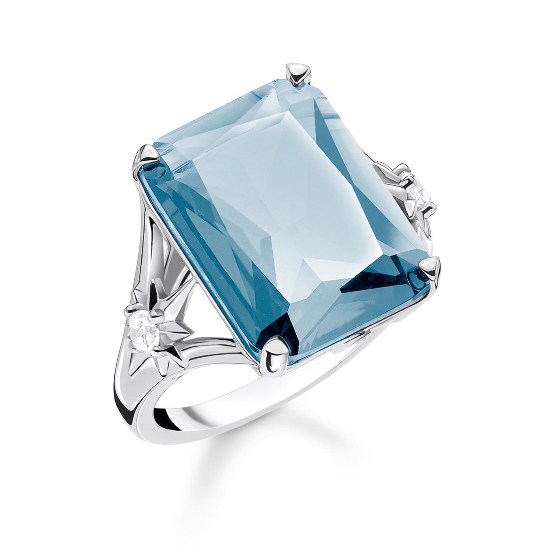 Sterling Silver Thomas Sabo Magic Stones Aqua Rectangle Ring