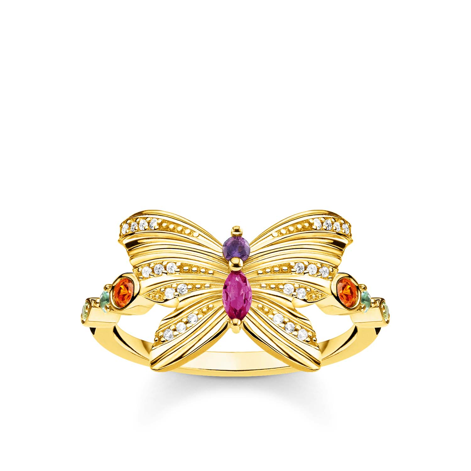 Gold Plated Sterling Silver Thomas Sabo Magic Garden Butterfly Ring