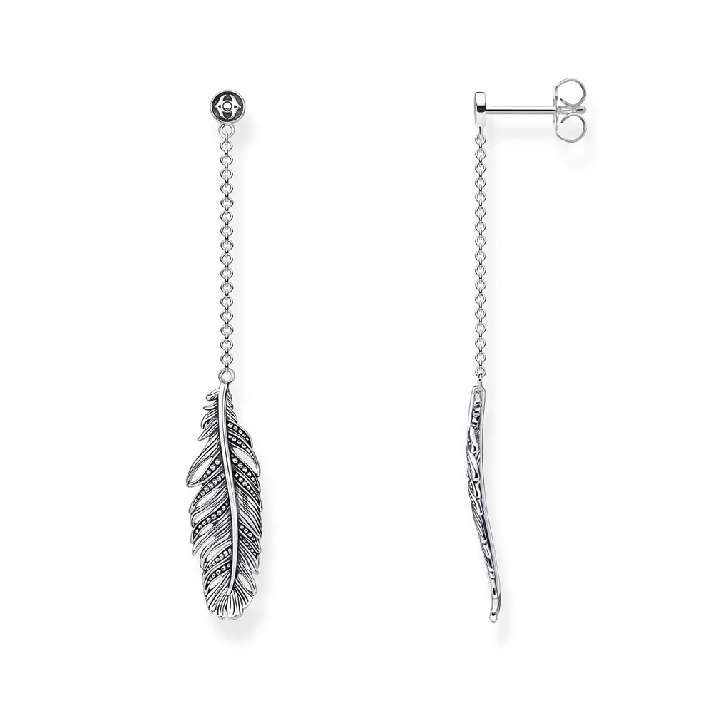 Sterling Silver Thomas Sabo Falcon Feather Drop Earrings