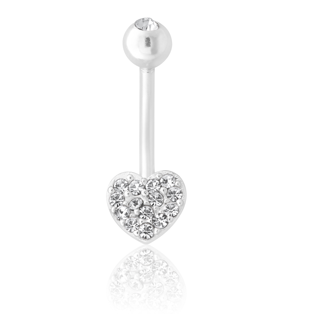 Sterling Silver Belly Bar Crystal Heart
