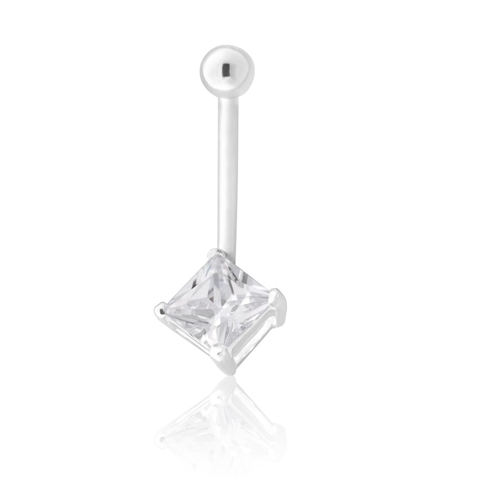 Sterling Silver Belly Bar Zirconia Square