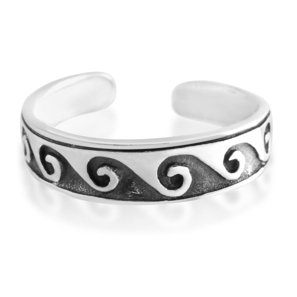 Sterling Silver Toe Ring Waves Oxidised