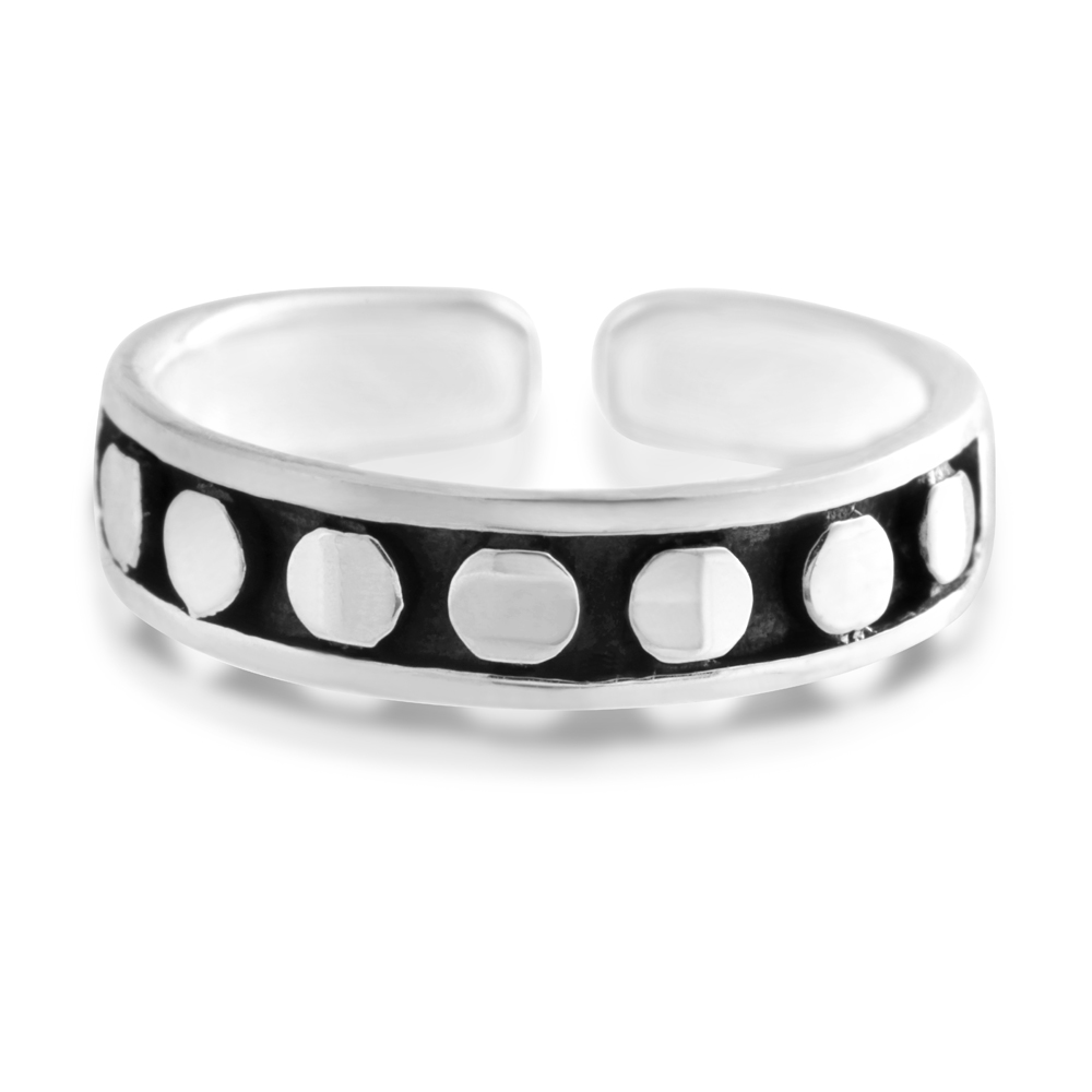 Sterling Silver Toe Ring Dots Oxidised