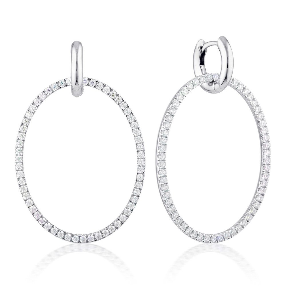 Georgini Sterling Silver Julietta Oval Drop Earrings
