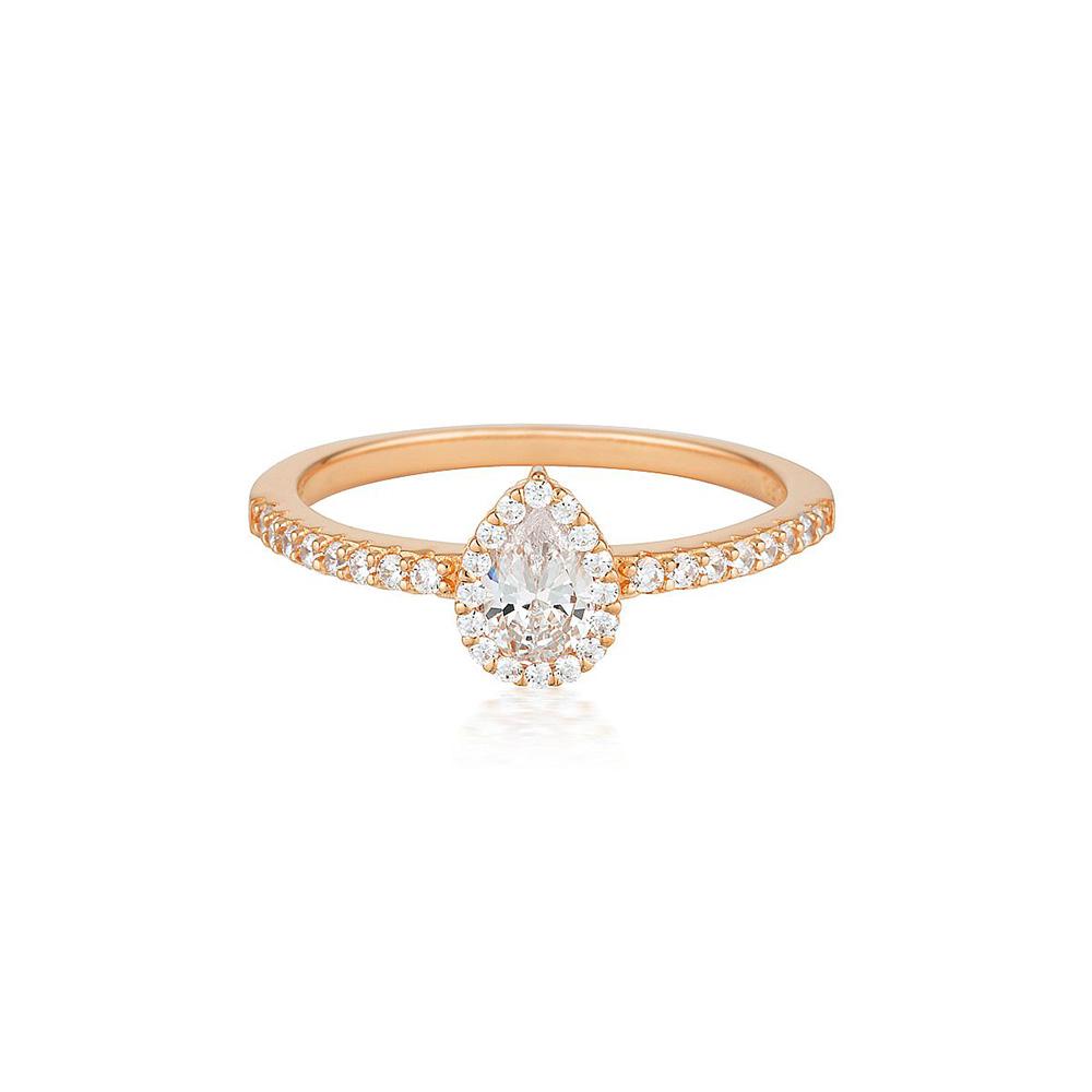 Georgini Rose Gold Plated Sterling Silver Zirconia Monaco Ring